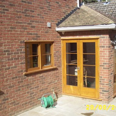 Stained Hardwood French Doors & Windows