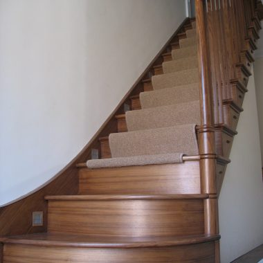 Walnut Staircase With Runner Carpet