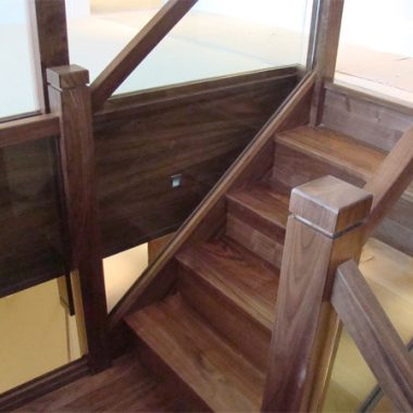 Walnut and Glass Balustrade Staircase